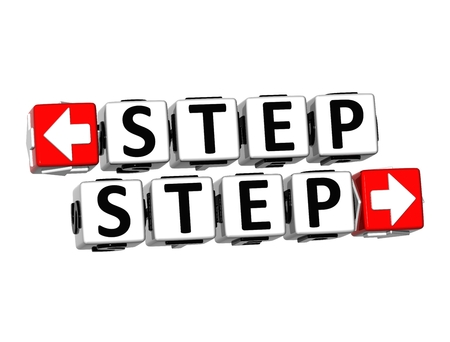 3D Step Button Click Here Block Text over white background  photo