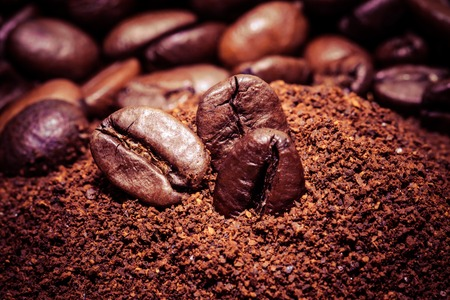 Coffee bean on macro for background Stock Photo