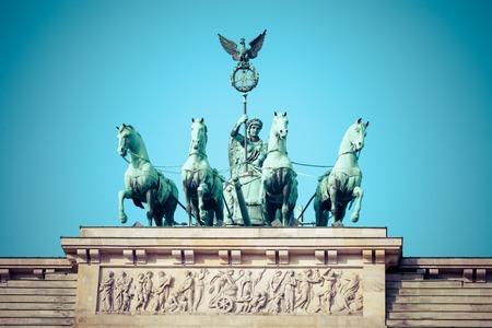 quadriga: The Quadriga on top of the Brandenburg gate, Berlin