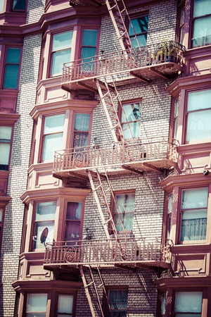 tenement: Fire escape on an old building