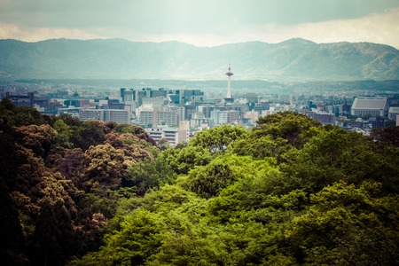 Evening view of Kyoto city in Japan.  photo