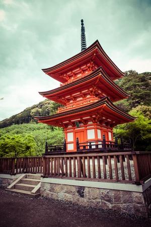 storied: Three-storied pagoda at Taisan-ji Temple nearby Kiyomizu-dera Temple in Kyoto