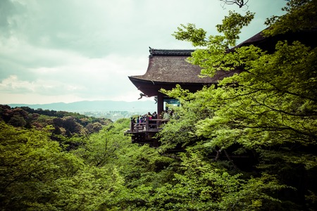 dera: Kiyomizu Dera buddhist temple in Kyoto, Japan, The temple is part of the Historic Monuments of Ancient Kyoto UNESCO World Heritage site.