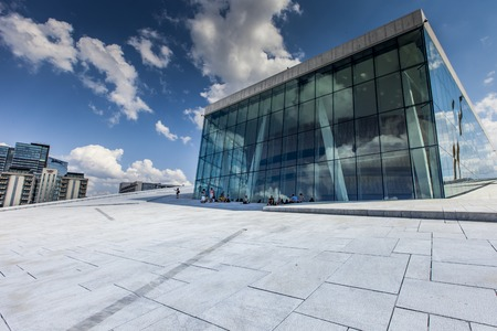 OSLO, NORWAY - JULY 09: View on a side of the National Oslo Opera House on July 09, 2014 in Oslo, Norway