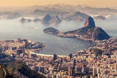 brazil beach: Rio de Janeiro, Brazil. Suggar Loaf and Botafogo beach viewed from Corcovado Stock Photo