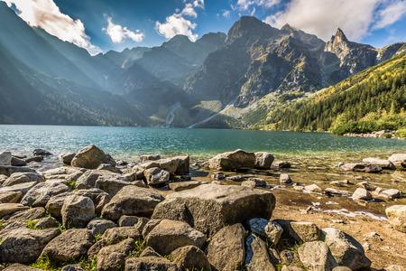 morskie: Green water mountain lake Morskie Oko, Tatra Mountains, Poland Stock Photo