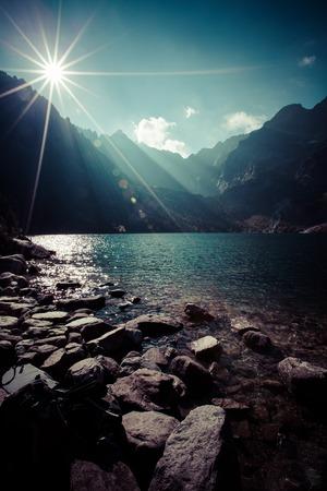 oko: Green water mountain lake Morskie Oko, Tatra Mountains, Poland Stock Photo