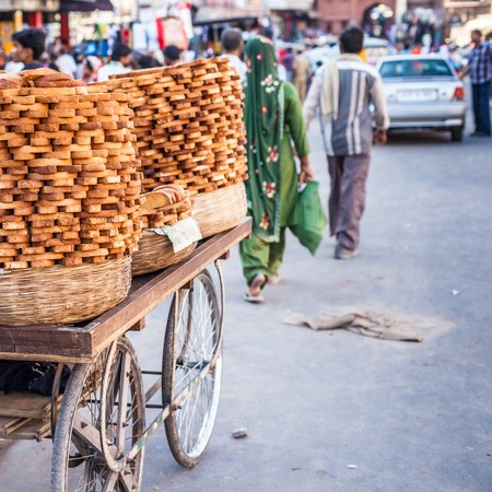 Bread for sale at local market in India.  photo