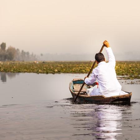 kashmir: Shikara boat in Dal lake , Kashmir India  Stock Photo
