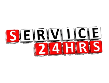 hrs: 3D Word Service 24 hrs on white background Stock Photo