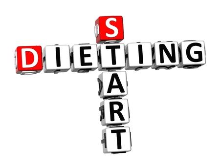 dieting: 3D Crossword Start Dieting on white background