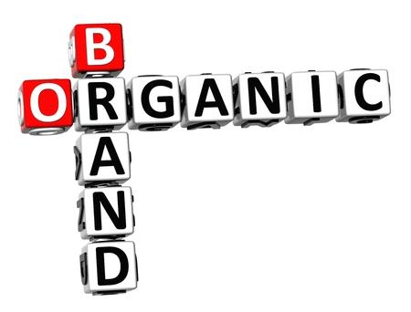3D Crossword Organic Brand on white background photo