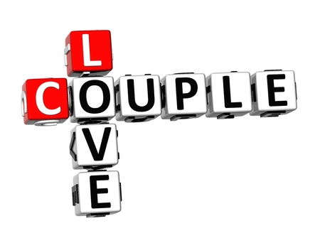 romatic: 3D Crossword Couple Love on white background Stock Photo