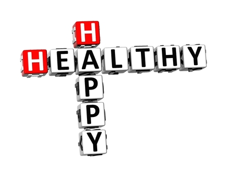 3D Crossword Healthy Happy on white background photo