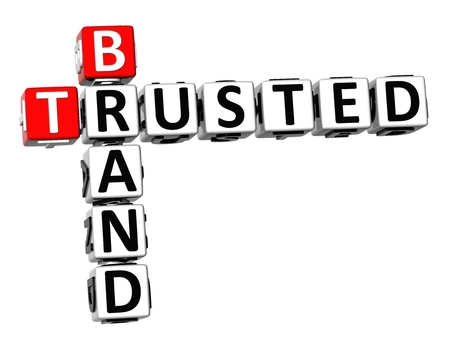 3D Crossword Trusted Brand on white background