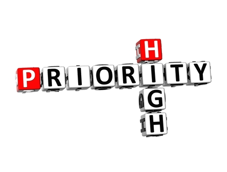 urgently: 3D Crossword Priority High on white background