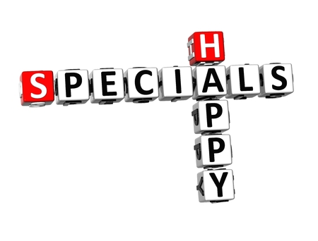 specials: 3D Crossword Specials Happy on white background