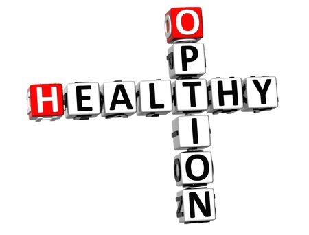 3D Crossword Healthy Option on white background photo