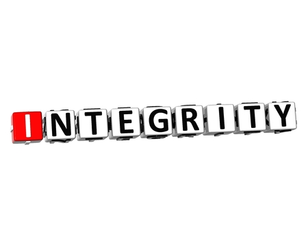 wholeness: 3D Word Integrity on white background Stock Photo