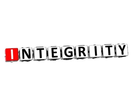 correctness: 3D Word Integrity on white background Stock Photo