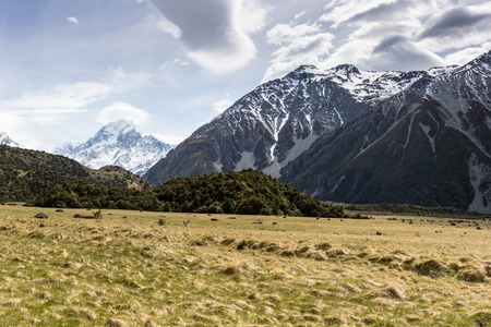 View of Mt Cook National Park, New Zealand. photo