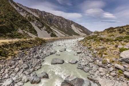 hooker: Hooker River in Aoraki national park New Zealand Stock Photo