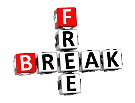 barrier free: 3D Crossword Free Break on white background
