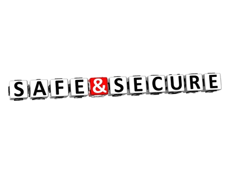 3D Word Safe and Secureon on white background photo