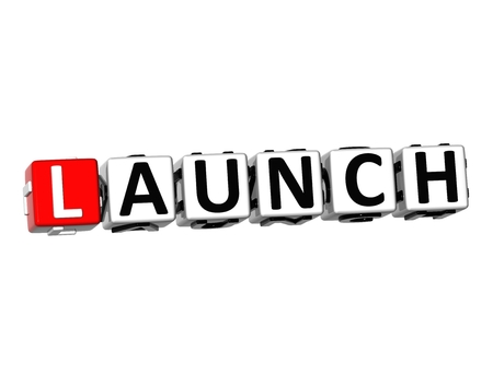 kickoff: 3D Word Launch on white background
