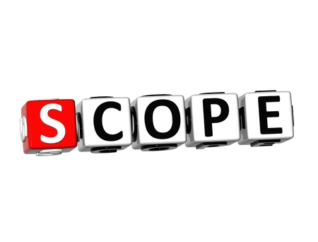 3D Word Scope on white background Stock Photo