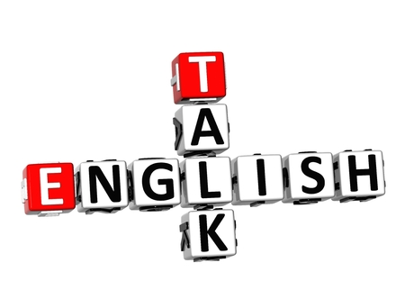 talking dictionary: 3D Crossword English Talk on white background