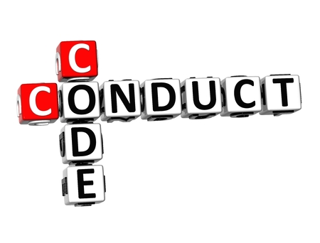 conduct: 3D Crossword  Conduct Code  on white background