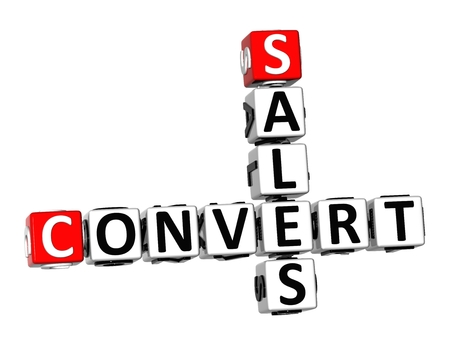 transactional: 3D Crossword Convert Sales on white background Stock Photo