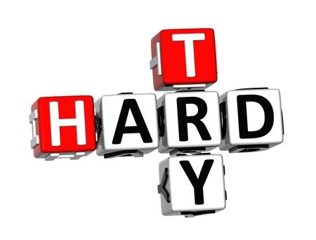 3D kruiswoordraadsel Probeer Hard op een witte achtergrond Stockfoto