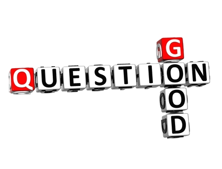 3D Crossword Good Question on white background photo
