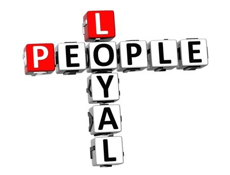 faithfulness: 3D Crossword Loyal People on white background