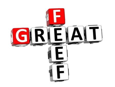 feel: 3D Crossword Feel Great on white background Stock Photo