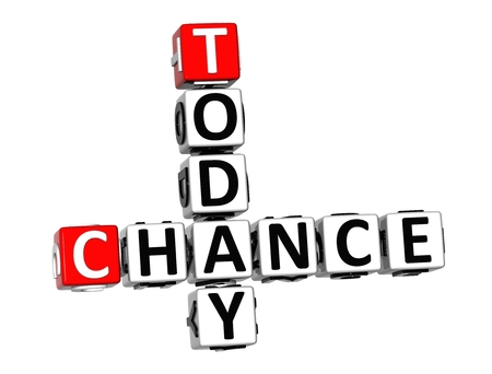 better chances: 3D Crossword Chance Today on white background