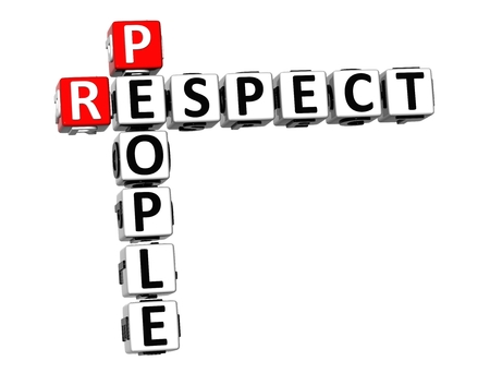 role models: 3D Crossword Respect People on white background Stock Photo