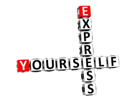 3D Crossword Express Yourself on white background photo