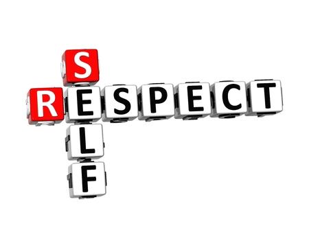 self worth: 3D Crossword Self Respect on white background