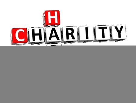 3D Crossword Happy Charity on white background Stock Photo
