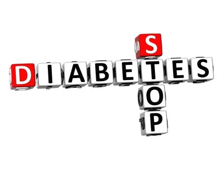 apnea: 3D Crossword Stop Diabetes on white background