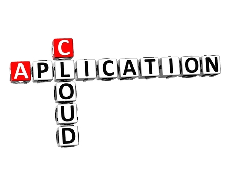 aplication: 3D Crossword Cloud Aplication on white background