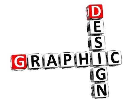 3D Crossword Graphic Design on white background