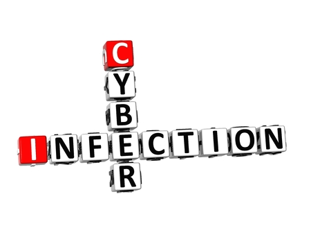 cyber defence: 3D Crossword Cyber Infection on white background Stock Photo