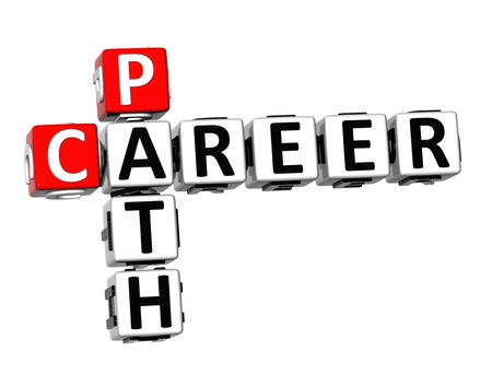 career path: 3D Crossword Career Path on white background Stock Photo