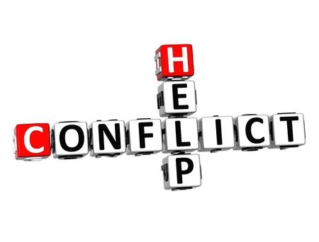 conflicto: Crucigrama 3D Ayuda Conflicto en el fondo blanco Foto de archivo