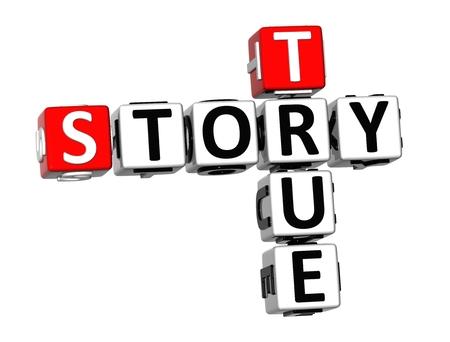3D Crossword True Story on white background Фото со стока - 38118155