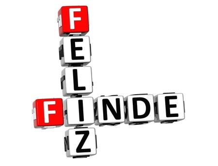 finde: 3D Crossword Feliz Finde on white background